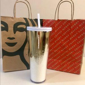 Starbucks Holiday Mirror Glitter Gold
